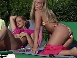 Sunbaked Orgy lesbian group scene with Liz Sharon Paulina and Dorina from Sapphic Erot
