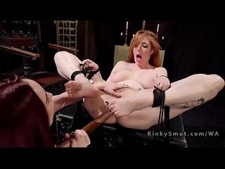 Busty lesbian slave anal breaked