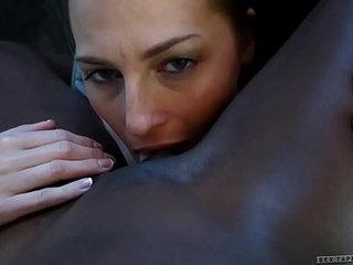 Interracial lesbian couple Roxy Rox and Ana Foxxx